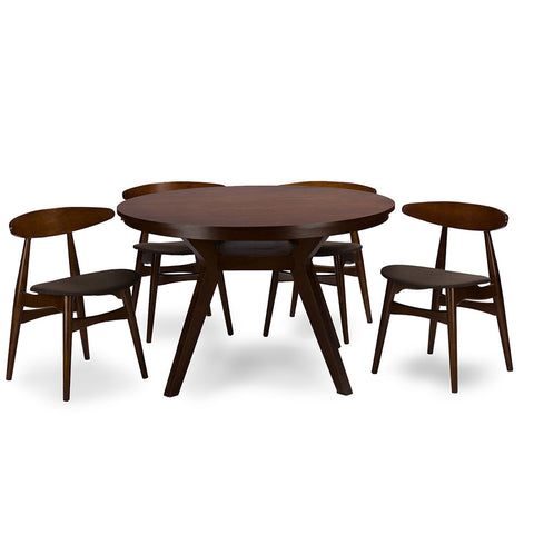 Baxton Studio Flamingo Mid-Century Dark Walnut Wood 5pc Dining Set