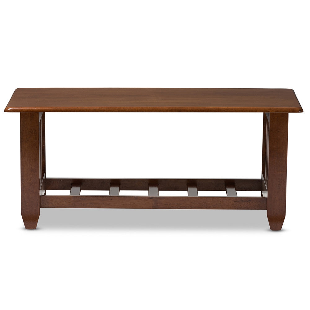 Baxton Studio Larissa Modern Classic Mission Style Cherry Finished Brown Wood Living Room Occasional Coffee Table