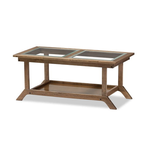 "Baxton Studio Cayla Mid-Century Modern ""Walnut"" Brown Wood Living Room Glass-Top Coffee Table"