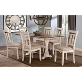 BAXTON STUDIO ROSEBERRY SHABBY CHIC FRENCH COUNTRY COTTAGE ANTIQUE OAK WOOD AND DISTRESSED WHITE 7-PIECE DINING SET WITH TRESTLE BASE 60-INCH FIXED TOP DINING TABLE