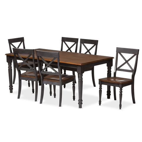 "BAXTON STUDIO ROSALIND SHABBY CHIC COUNTRY COTTAGE WEATHERED DOVE GREY AND ""OAK"" BROWN 2-TONE FINISHING SOLID WOOD TOP 7-PIECE DINING SET"