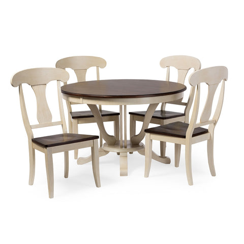 Baxton Studio Napoleon Chic Country Cottage Antique Oak Wood and Distressed White 5-Piece Dining Set with 48-Inch Round Pedestal Base Fixed Top Dining Table