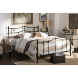 BAXTON STUDIO WENDY CHIC VINTAGE ANTIQUE DARK BRONZE QUEEN SIZE IRON METAL PLATFORM BED
