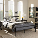 Baxton Studio Barkley Modern and Contemporary Dark Bronze Finishing Queen Size Iron Metal Platform Bed