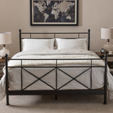 Baxton Studio Barney Industrial Style Antique Bronze Finished Metal Queen Size Platform Bed