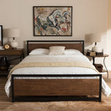 Baxton Studio Gabby Industrial Style Antique Bronze Finished Metal and Walnut Wood Full Size Platform Bed