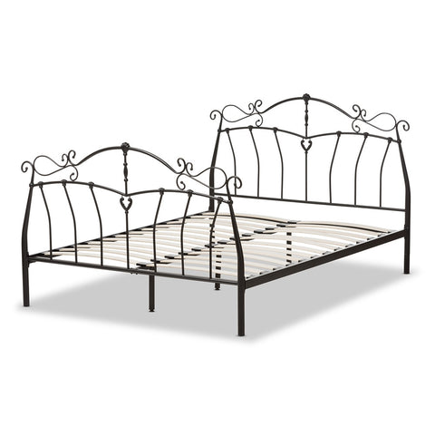BAXTON STUDIO SELENA ANTIQUE BRONZE FINISHED METAL QUEEN SIZE PLATFORM BED