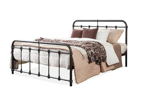 Baxton Studio Mandy Chic Vintage Antique Dark Bronze Queen Size Iron Metal Platform Bed