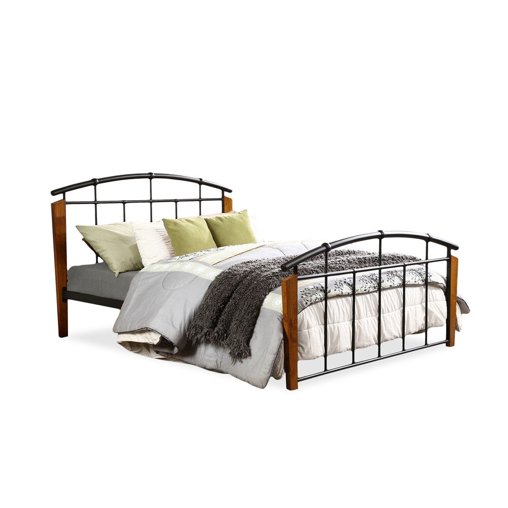 Baxton Studio Optimus Modern and Contemporary Antique Dark Bronze Metal and Dark Walnut Wood Queen Size Platform Bed
