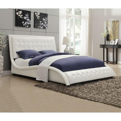 QUEEN SIZE WHITE FAUX LEATHER UPHOLSTERED BED WITH BUTTON-TUFTED HEADBOARD