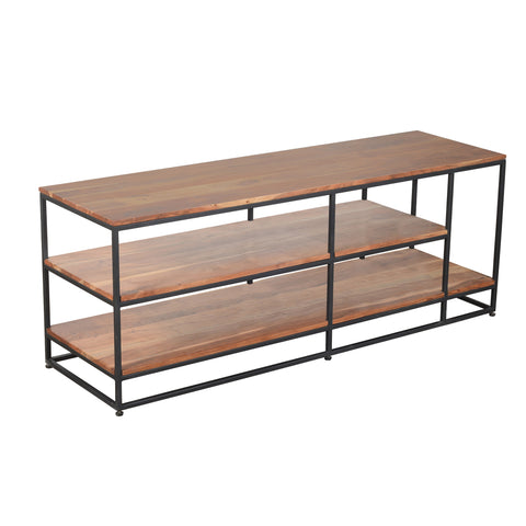 3 Tier Metal Framed Entertainment Unit with Wooden Shelves, Brown and Black