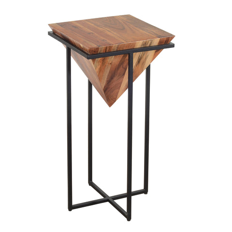 30 Inch Pyramid Shape Wooden Side Table With Cross Metal Base, Brown and Black