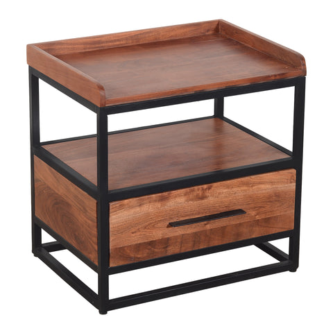 Handcrafted Industrial Metal End Table with Wooden Drawer, Brown and Black