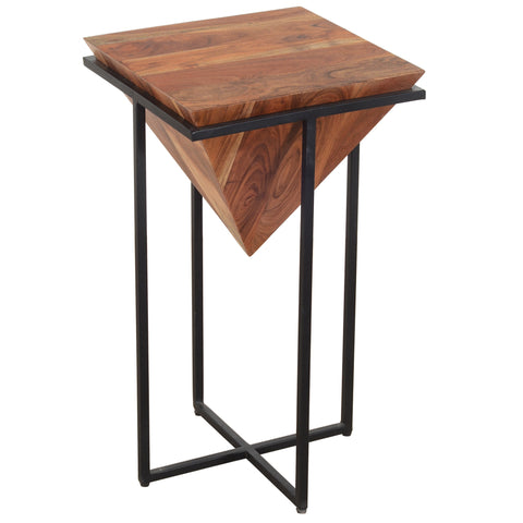 26 Inch Pyramid Shape Wooden Side Table With Cross Metal Base, Brown and Black