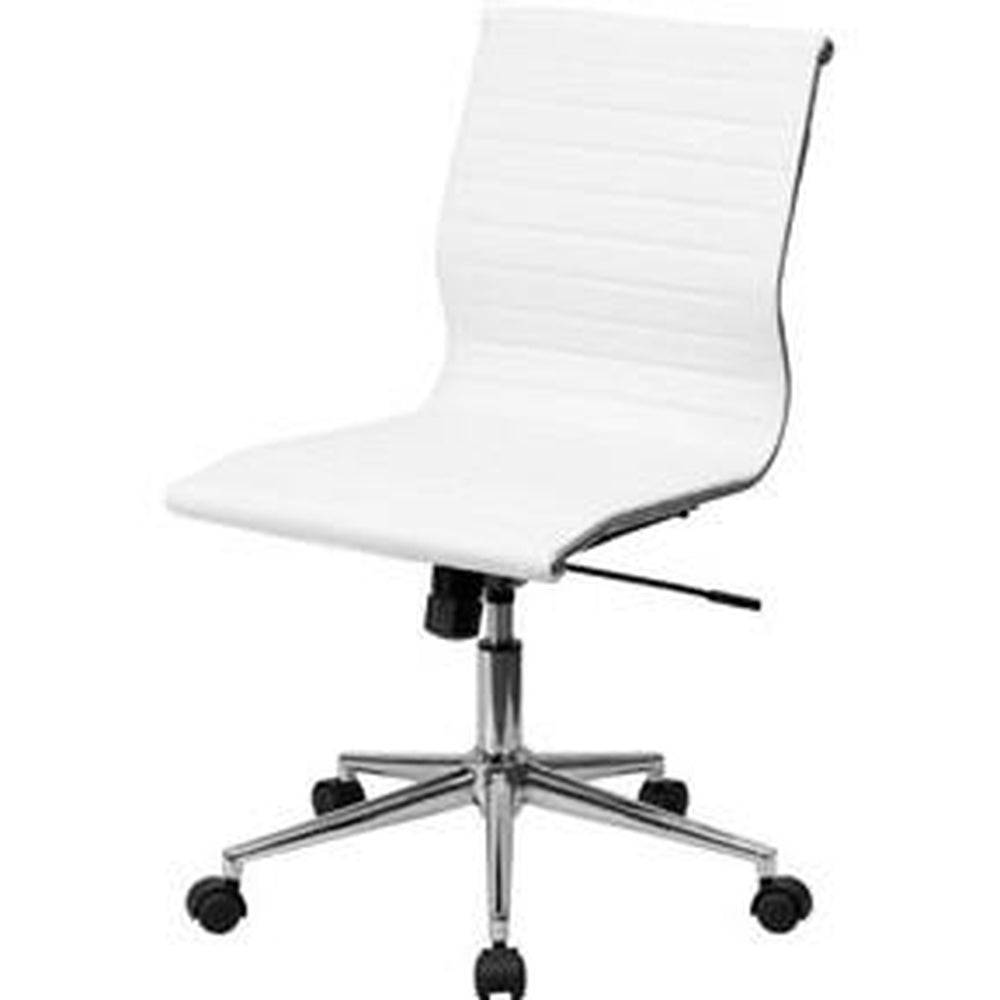 WHITE FAUX LEATHER RIBBED ARMLESS MID-BACK CONFERENCE OFFICE CHAIR