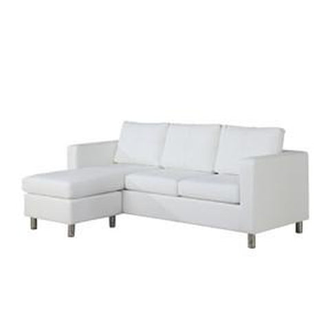 WHITE FAUX LEATHER SECTIONAL SOFA WITH REVERSIBLE CHAISE