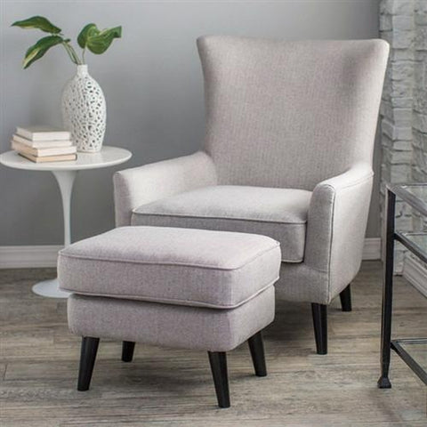 GRAY WOOL BLEND UPHOLSTERED MID-CENTURY ARM CHAIR AND OTTOMAN