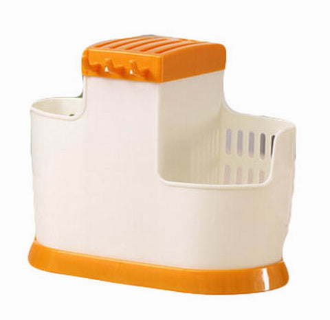 Creative Knife Rack/Holder/Storage Knife Blocks for Kitchen, White&Orange