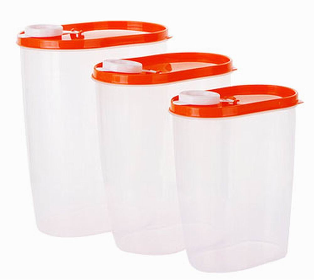 3PCS Kitchen Storage Bins Utility Cereals/Snacks Storage Canisters, Orange