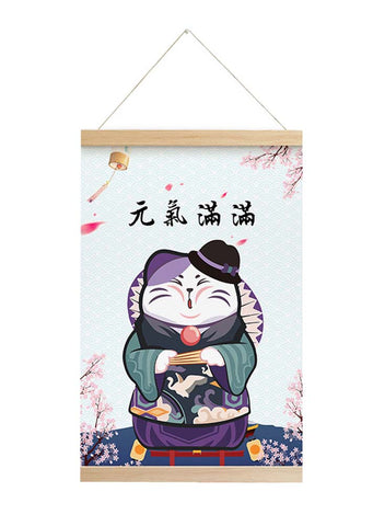 Scroll Painting Japanese Style Hanging Paintings Lucky Cat, M1