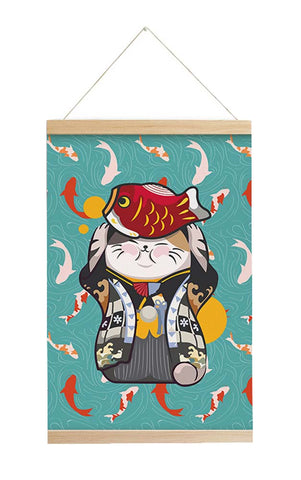 Scroll Painting Japanese Style Hanging Paintings Lucky Cat, M2