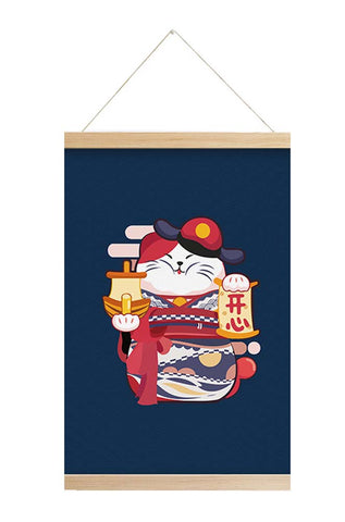 Scroll Painting Japanese Style Hanging Paintings Lucky Cat, M3