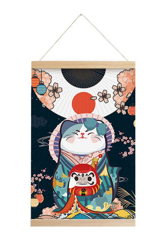 Scroll Painting Japanese Style Hanging Paintings Lucky Cat, M4