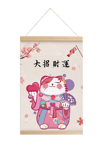 Scroll Painting Japanese Style Hanging Paintings Lucky Cat, M5