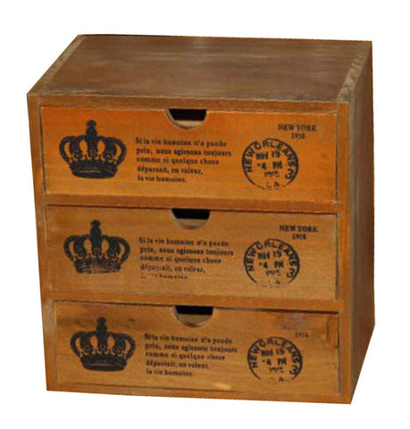 Elegant Small Crown Pattern Wood Storage Chests Desktop Receive Container