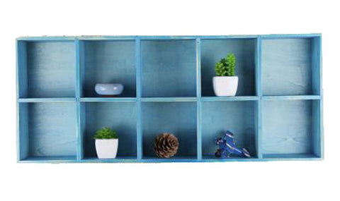 Elegant Wood Storage Rack Handmade Storage Cabinet 10 Drawers, Blue