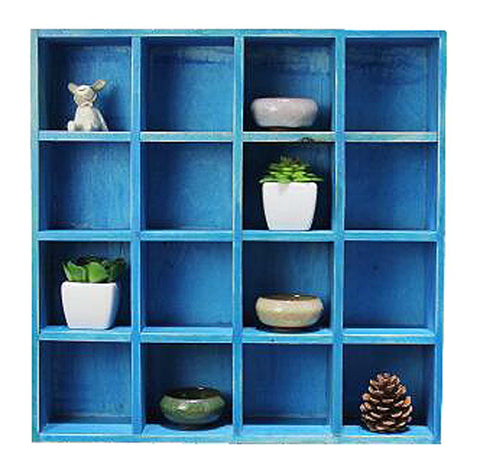 High-quality Wood Storage Rack Storage Cabinet Home Decorations Blue