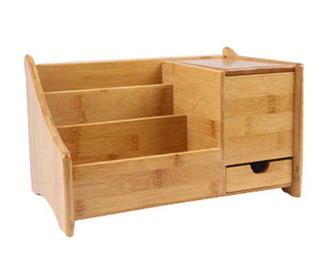 Practical Durable Bamboo Desktop Storage Box Handmade,Natural Color,30x19CM