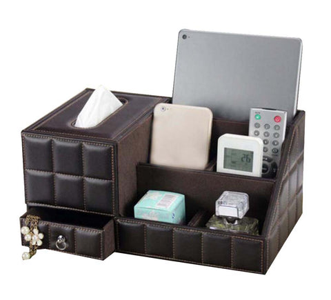 High-grade Desktop Storage Box/ Multifunctional Tissue Box /5 Cells, Coffee