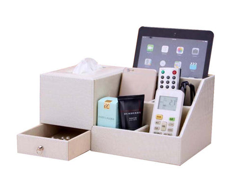 Multifunctional Desktop Storage Box/ Creative Tissue Box 7 Cells, White