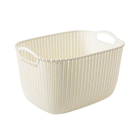 Plastic Woven Storage Basket Box Portable Bathroom Cosmetic Organizer