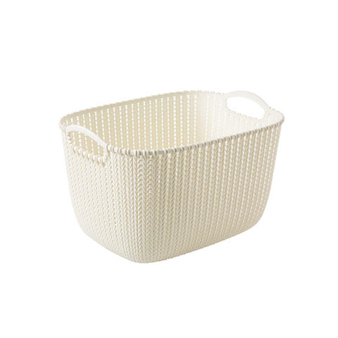Set of 2 Plastic Woven Storage Basket Box Portable Bathroom Cosmetic Organizer