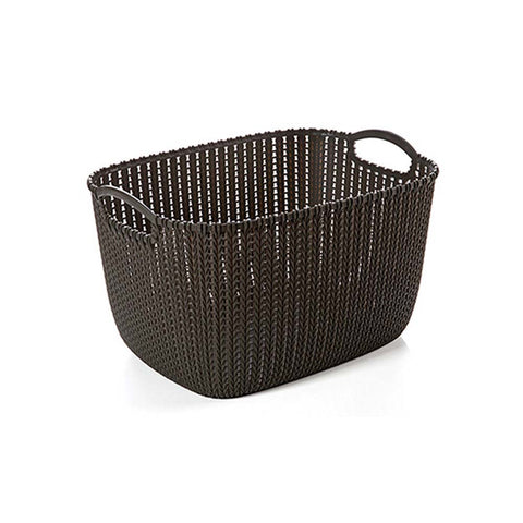 Set of 2 Portable Bathroom Cosmetic Organizer  Plastic Woven Storage Basket Box