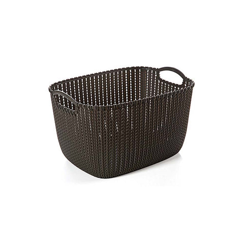 Set of 3 Portable Bathroom Cosmetic Organizer  Plastic Woven Storage Basket Box