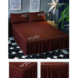 Luxurious Durable Bed Covers Pure Color Bedspreads (Brown)