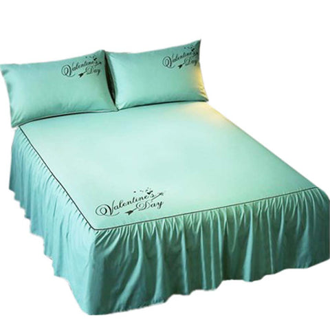 Luxurious Durable Bed Covers Pure Color Bedspreads (Green 2)