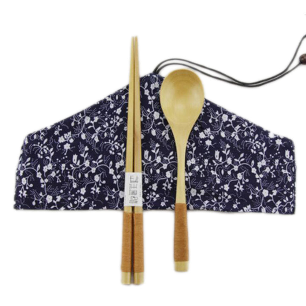 Japanese Style Natural Wooden Chopsticks Spoon Cutlery Set Travel Cloth Carry Bag Three-piece Tableware-A09