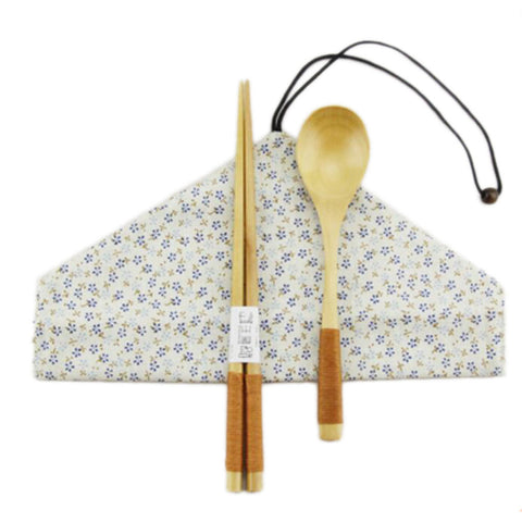 Japanese Style Natural Wooden Chopsticks Spoon Cutlery Set Travel Cloth Carry Bag Three-piece Tableware-A10