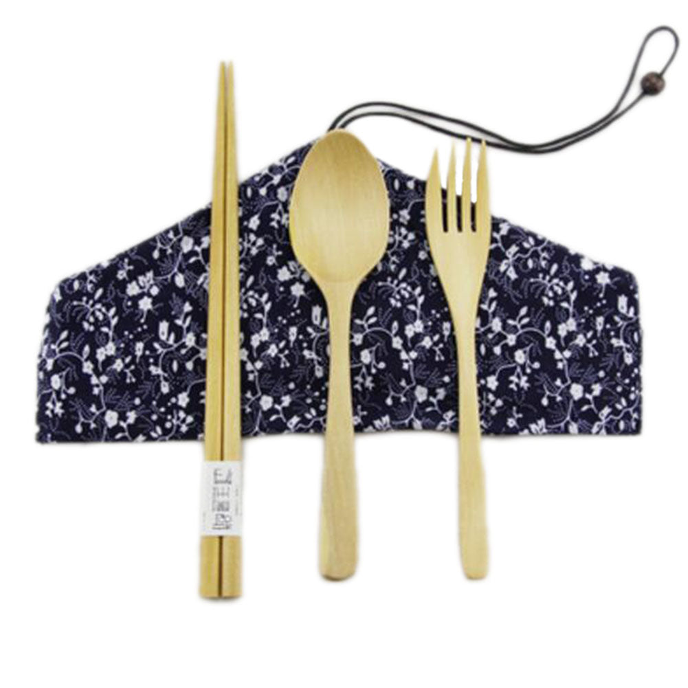 Japanese Natural Wooden Chopsticks Spoon Forks Cutlery Set Travel Cloth Carry Bag Four-piece Tableware-B08