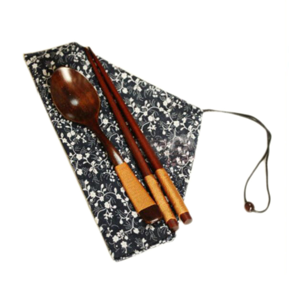 Japanese Style Natural Wooden Chopsticks Spoon Cutlery Set Travel Cloth Carry Bag Three-piece Tableware-C03