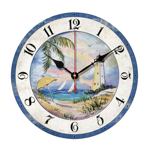 "10"" Retro Unique Lighthouse Wall Clock Decor Silence Hanging Clock, A"