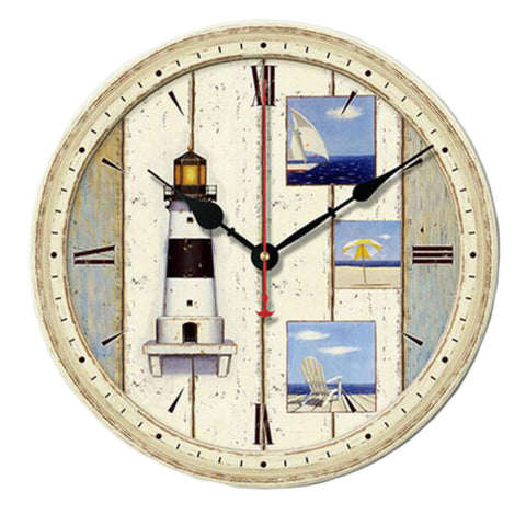 "12"" Retro Unique Lighthouse Wall Clock Decor Silence Hanging Clock, B"