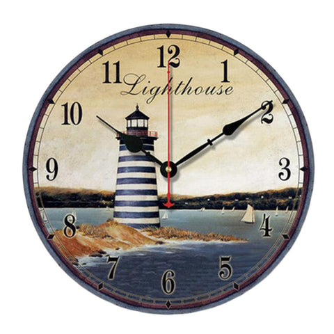 "10"" Retro Unique Lighthouse Wall Clock Decor Silence Hanging Clock, C"