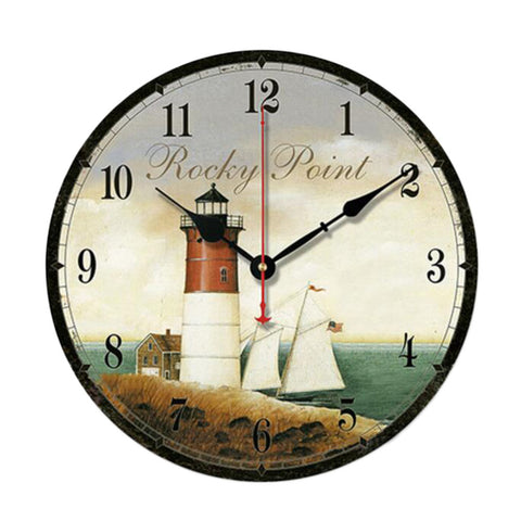 "10"" Retro Unique Lighthouse Wall Clock Decor Silence Hanging Clock, D"