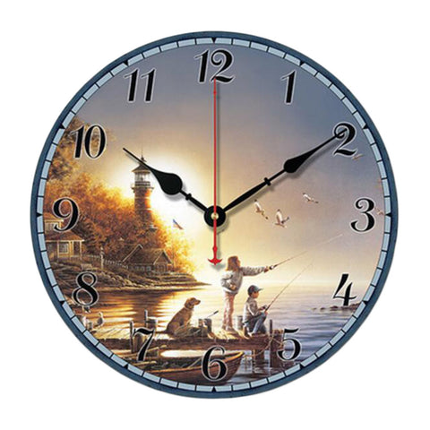 "10"" Retro Unique Lighthouse Wall Clock Decor Silence Hanging Clock, E"