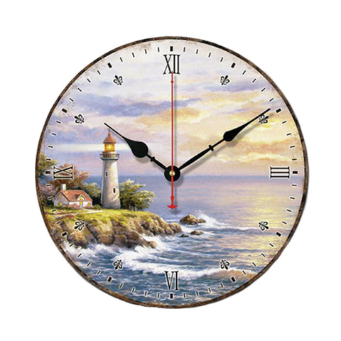 "10"" Retro Unique Lighthouse Wall Clock Decor Silence Hanging Clock, F"